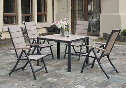 5 pcs Casual Style Patio Outdoor Dining Set Table Foldable Arm Chairs Wood Metal