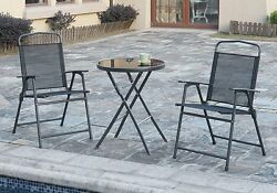 3 pcs Outdoor Patio Pool Yard Portable Dining Set Foldable Table Folding Chairs