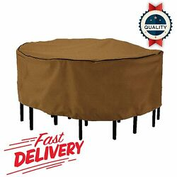 Round Patio Table Chair Set Winter Cover 84