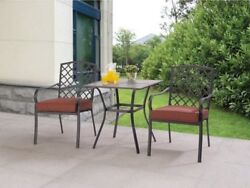 Bistro Set 3-Piece Counter Height Patio Furniture Outdoor Red Steel Pool Bar New