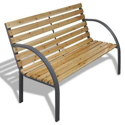 Patio Outdoor Garden Bench Wooden Metal Curved BackArmrests Yard NEW N7Q5