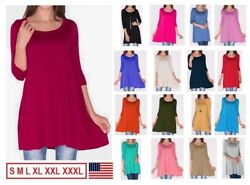 NEW Womens 34 Sleeve Tunic Top Dress Round Neck Blouse USA S M L XL Plus 2X 3X