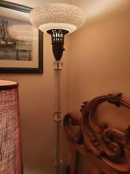Antique Torchiere Glass Floor Lamp Glass Column Opalescent Shade Marble 1950s $8691.80