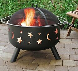Pit Outdoor Large Bowl Safety Ring W Cooking Grate Steel Construction New Black.