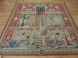 Lovely French Square Oriental Tapestry  7x7 to hang with Cherubs winged figures