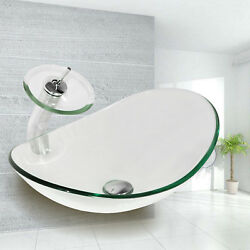 Oval Clear Tempered Glass Bathroom Vessel Sink & Waterfall Faucet Chrome Drain  $89.99