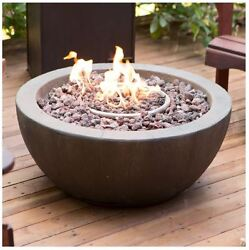 Outdoor Fire Pit With Cover Propane Gas Backyard Patio Deck Stone Bowl Fireplace