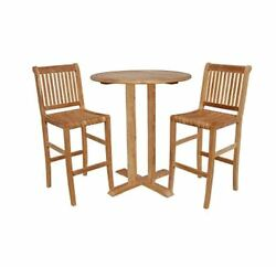 garden outdoor patio furniture dining bistro sets 2 chairs 1 table in Teak new