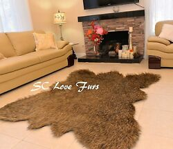Furry Grizzly Bearskin Brown Tip Faux Fur Area Rug Christmas Lodge Home Decor