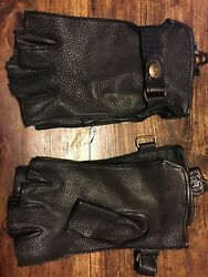 Fingerless Leather Motorcycle Riding Gloves $32.00