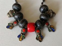 Antique Moroccan HUGE natural color Coral Bead enameled silver necklace (m1036)