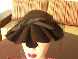 RARE vintage Drapper 1930s 1940s wool brown sculpted folded hat