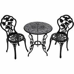 Outdoor Chairs & Table Cast Iron Set 3pcs Bistro Home Garden Patio Furniture New