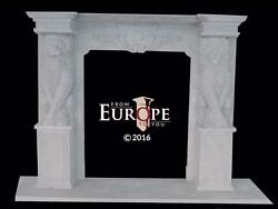 MASSIVE HAND CARVED SOLID MARBLE EUROPEAN DESIGN LION FIREPLACE MANTEL - FS1