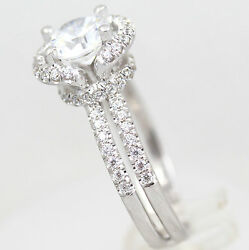 AUTHENTIC 2.00 CARAT D VS1 ROUND DIAMOND RING 18 K WHITE GOLD SIDE STONES