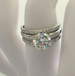 EVER LASTING 3.75 CT E SI1 ROUND DIAMOND MATCHING BANDS 14 K WHITE GOLD RING