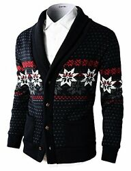 H2H Mens Premium Casual Nordic Patterned Knitted Shawl Collar Cardigan