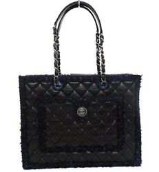 Authentic CHANELQuilted CC Logo Button Tweed Calf Double Chain tote Bag (370456)