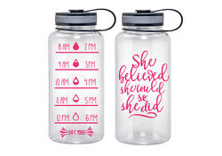 Water Tracker – She Believed She Could So She Did Sports Water Bottle 34 Oz