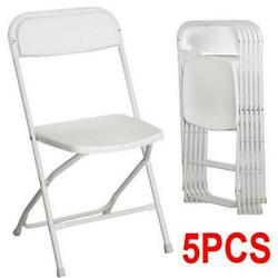 New Hot Set Of 5 Commercial White Plastic Folding Chairs Stackable Picnic Party