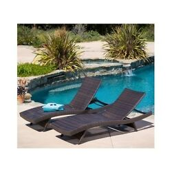 Outdoor Chaise Lounge Wicker Chair Set Pool Patio Deck Garden Porch Furniture