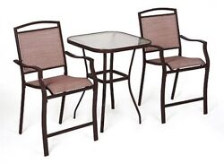 3-Piece Outdoor Bistro High Patio Chairs Steel Glass Table Dining Set Seats 2