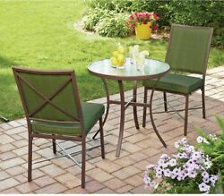 3 Piece Outdoor Bistro Set Patio Deck Furniture Metal Chair and Glass Coffee