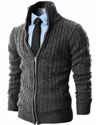 H2H Mens Casual Knitted Cardigan Zip-up W Twisted Pattern - Choose SZColor