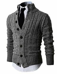 H2H Mens Premium Various Styles Twisted Knit Cardigan Sweater W Button Details