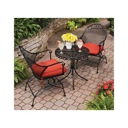 Wrought Iron Bistro Set Outdoor Patio Small Dining Lawn Pool Furniture 3 Piece