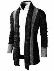 H2H Mens Casual Slim Fit Knit Cardigan W Double Shawl Collar - Choose SZColor