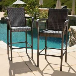 Bar Height Patio Furniture Stools Wicker Poolside Outdoor Chairs Deck Set Of 2