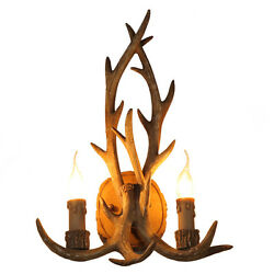 Rustic Faux Antler Resin Antler Two Candle Light Wall Sconce Home Wall Art Decor