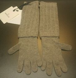 Authentic Moncler Guanti Grey Wool Cashmere Long Knit Gloves Arm Warmers ✅