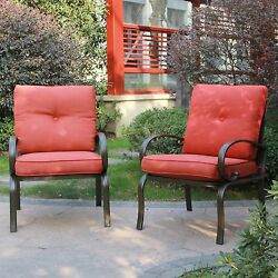 Set of 2 Outdoor Dining Chair Brick Red Cushion Wrought Iron Patio Seating Chair