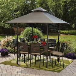 Patio Dining Set 10-Piece Canopy Gathering Height Seats 8 Durable Powder Coated