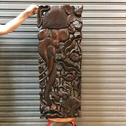 35-inch Teak Wood Carved Elephant Wood Carving Wall Panel Asian Sculpture