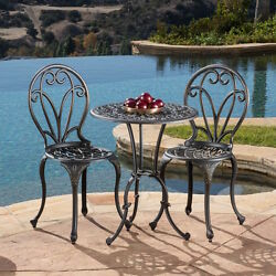 Bistro Table And Chairs Patio Deck Furniture Indoor Outdoor Metal 3 Piece Set