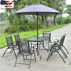 8 PCS Patio Garden Set Yard Furniture 6 Folding Chairs Table with Umbrella Gray