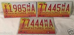 Lot of 3 License Plate Plates New Mexico Hot Air Ballon Manufactured Home