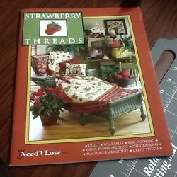 Need'l Love Strawberry THREAD Rug Hooking Penny Wool Applique Quilt Pattern Book