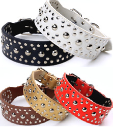 Studded Spiked Metal Dog Collar Faux Leather Large Pitbull Mastiff Spike L XL $12.30