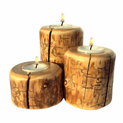 Candle Holder Set Red Pine Rustic Log Cabin Decor Wood Tea Light Collectibles