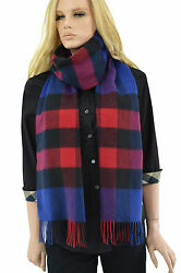 $565 BURBERRY Blue Red MEGA CHECK 100% Cashmere Womens Wrap Scarf NEW COLLECTION