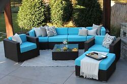 8PC Lincoln All Weather Patio Outdoor Sectional Sofa Furniture Rattan Wicker