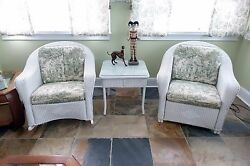 Rocking Chair Wicker Outdoor White Porch Rocker With Cushions Patio Furniture