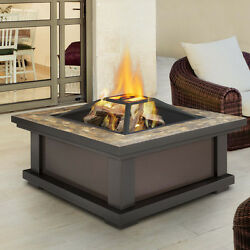 Outdoor Fire Pit Table Wood Burning Tile Mosaic Top Firewood Fireplace Cover Gel