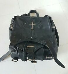 Authentic Chrome Hearts All Leather Black Backpack Bag Sterling Silver Cross