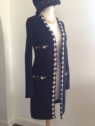 CHANEL Monochrome Black Cashmere Sweater Coat Jacket White Cross Trim 38