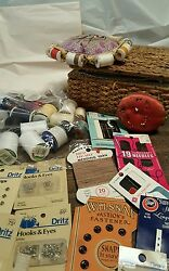 MIXED LOT OF ASSORTED VINTAGE & NEW SEWING SUPPLIES NOTIONS THREAD
